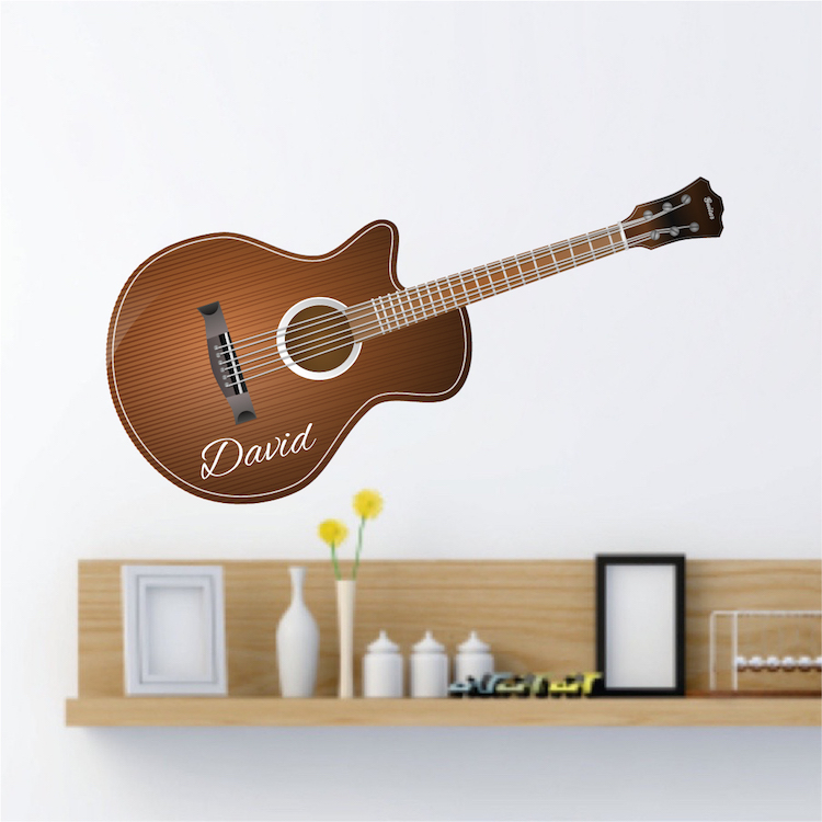 acoustic guitar wall decal stringed instrument wall design guitar music wall decor music. Black Bedroom Furniture Sets. Home Design Ideas
