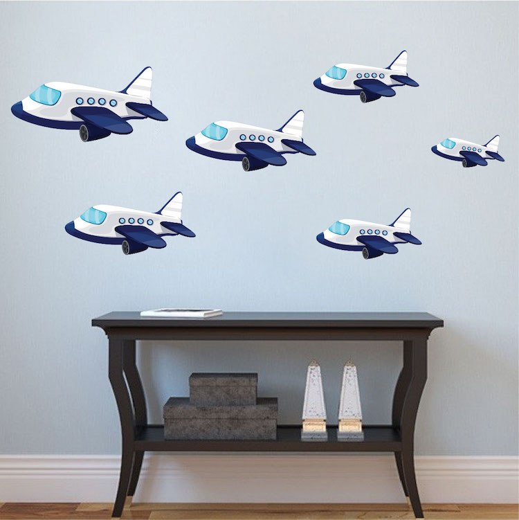 Kids planes wall decal nursery wall decal murals for Aeroplane wall mural