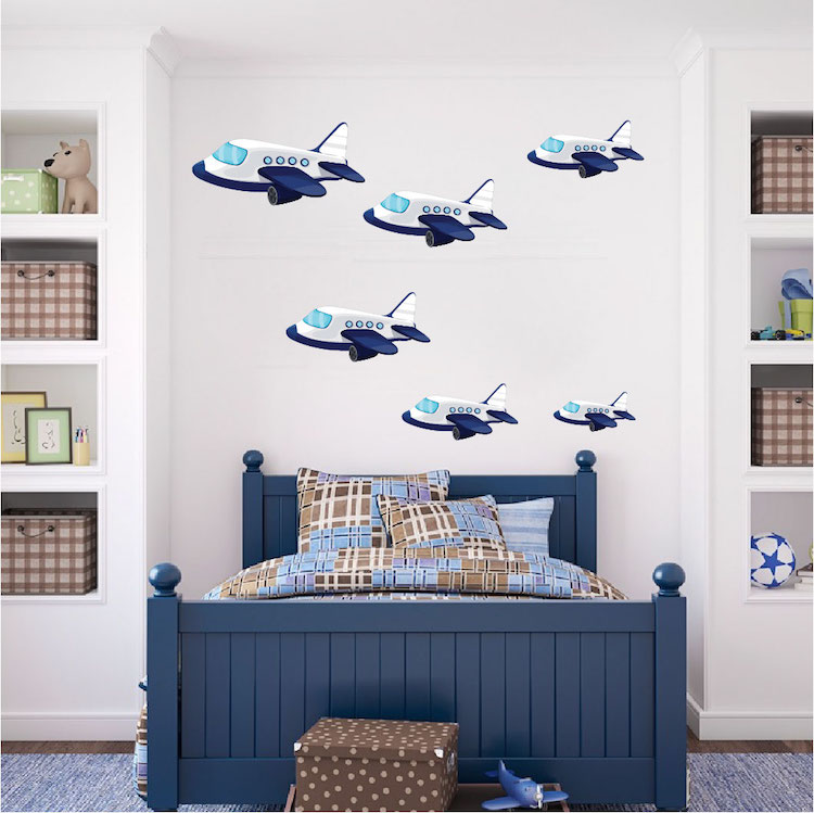 Kids planes wall decal nursery wall decal murals for Aviation wall mural