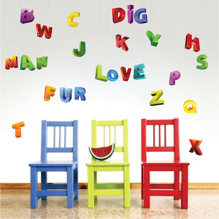 3d alphabet wall decals nursery wall decal murals for Alphabet wall mural