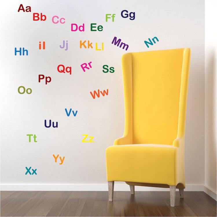alphabet decal nursery wall decal murals primedecals. Black Bedroom Furniture Sets. Home Design Ideas