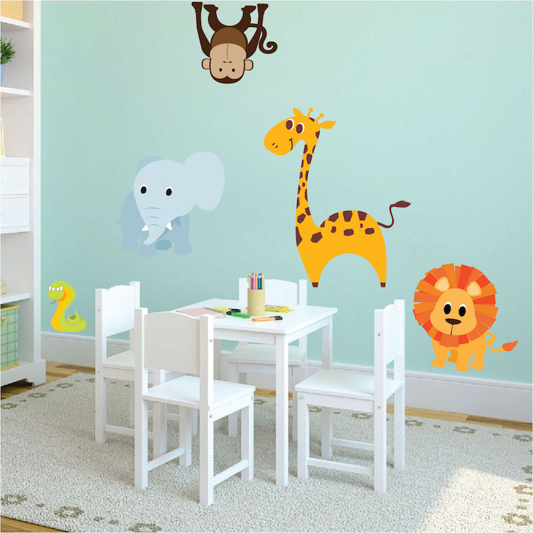 Wall mural for nursery for Animal wall mural