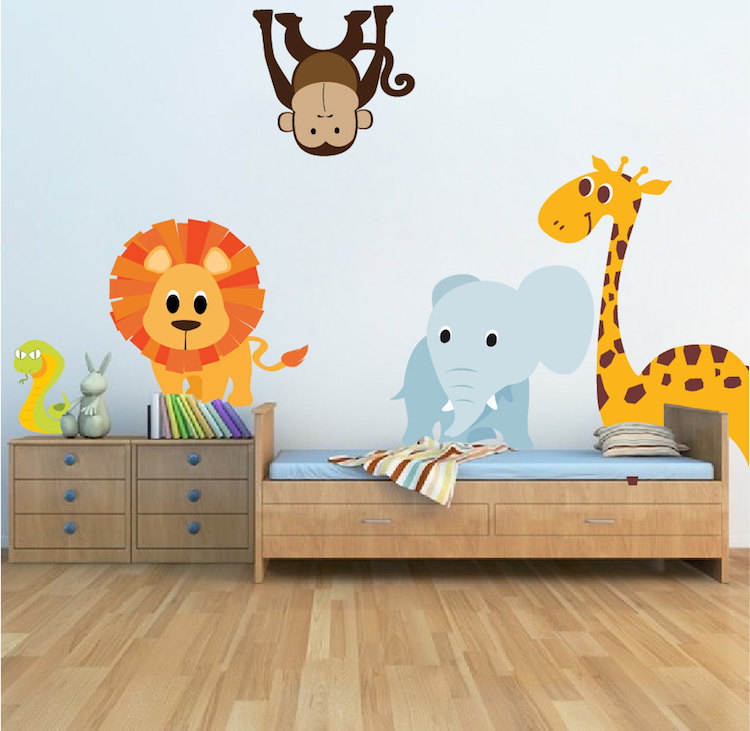 Zoo animals nursery thenurseries for Animal wall mural