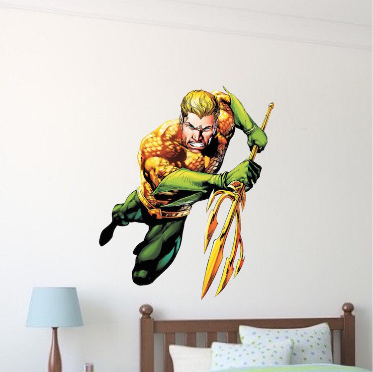 Home U003e Shop Wall Decals U003e Teens U003e Aqua Man Superhero Wall Graphic Decal Part 68