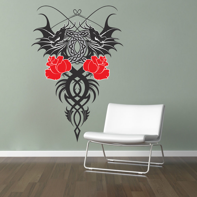 Dragon wall mural asian decals primedecals for Dragon mural for wall