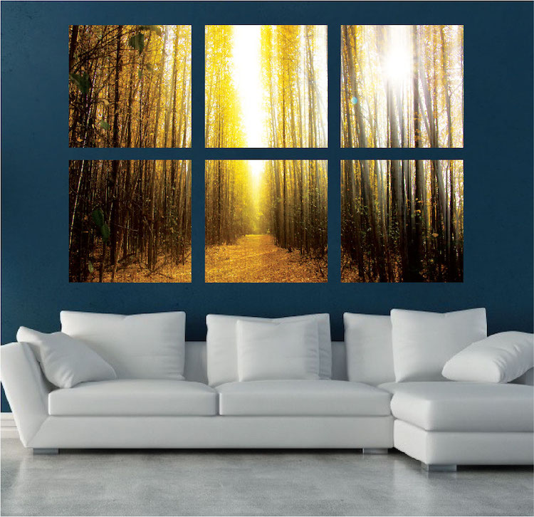 Autumn trees mural decal view wall decal murals for Autumn wall mural