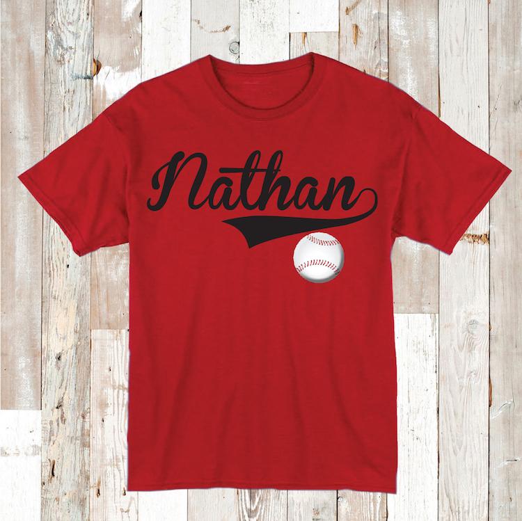 Custom baseball shirt with name birthday baseball tees for Custom baseball tee shirts