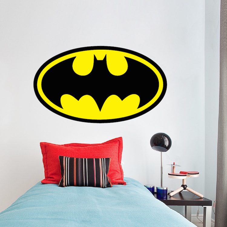 Batman logo wall decal batman wall decal hero boys for Batman wall mural decal