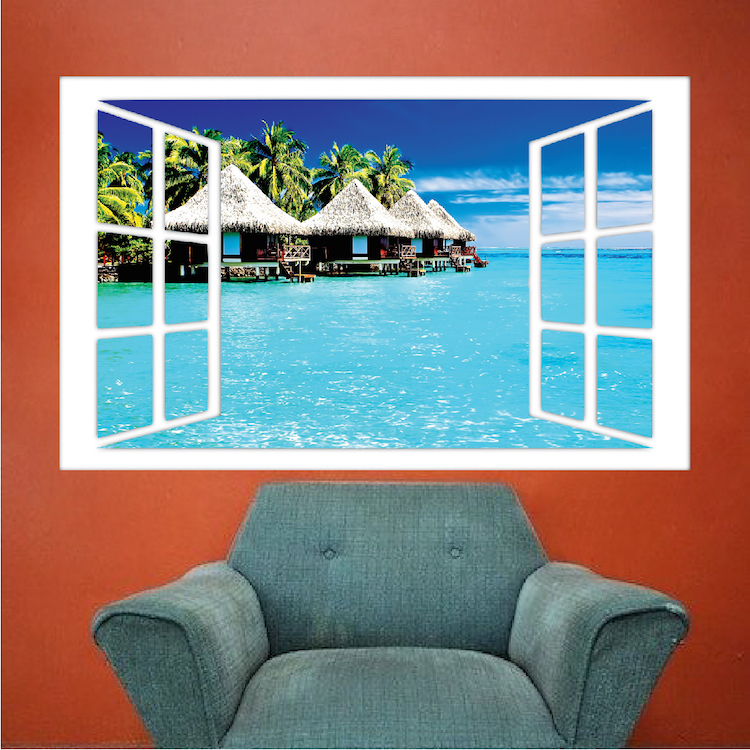 Ocean hut wall mural decal scenic wall decal murals for Beach mural for wall