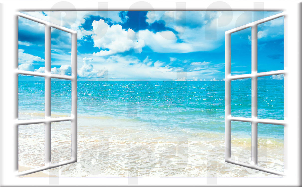 Ocean view mural decal view wall decal murals primedecals for Beach wall mural sticker
