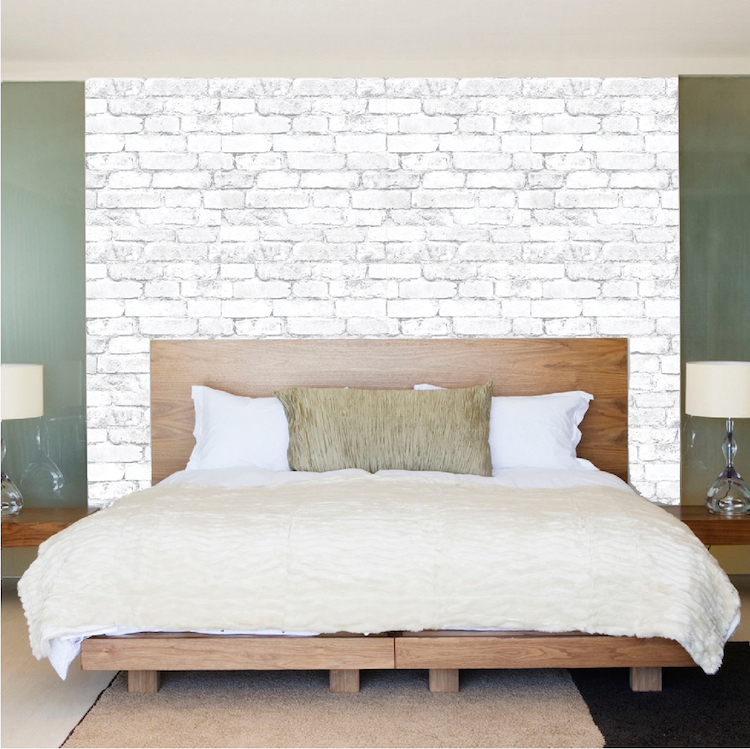 White bricks wallpaper decal self adhesive brick for Brick wall decal mural