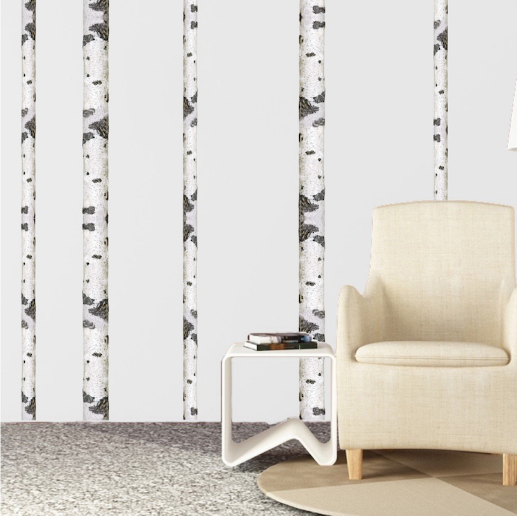 Birch tree wall decal birch tree trunk wallpaper decal for Birch trees wall mural