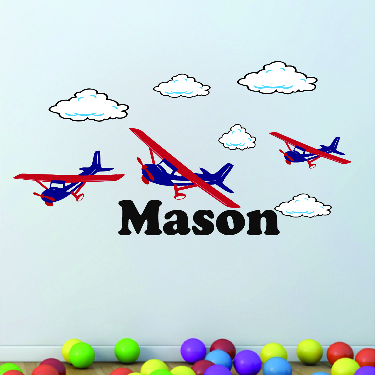 Home U003e Shop Wall Decals U003e Nursery U0026 Kids U003e Airplane Boys Room Wall Decal
