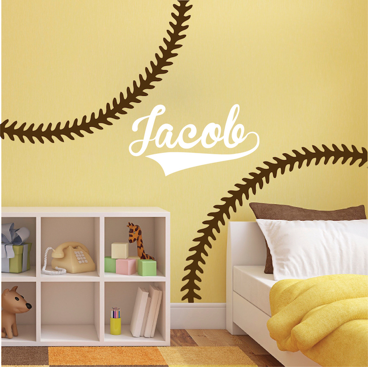 Baseball Stitch Wall Mural Decals