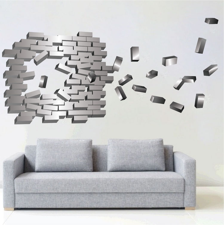 Abstract brick wall decal modern wall stickers primedecals for Brick wall decal mural