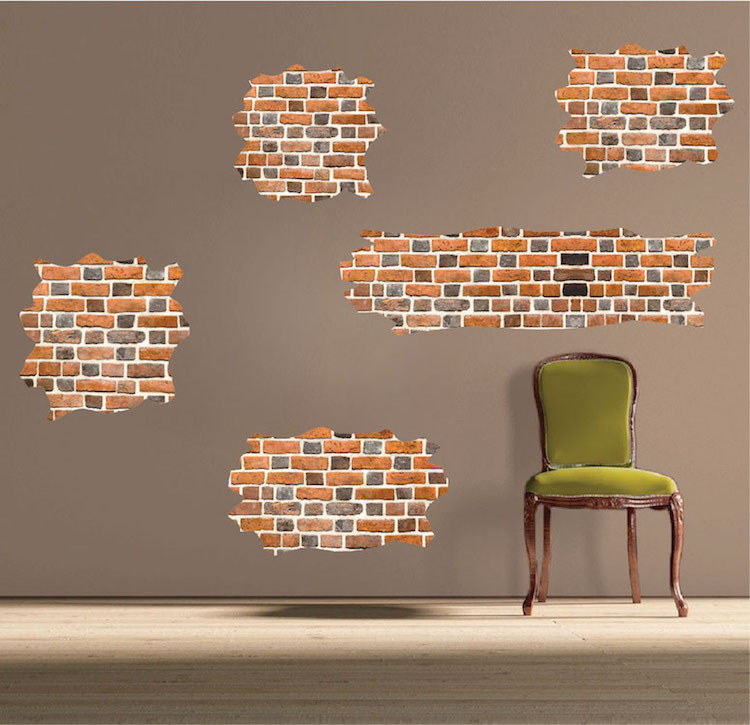 Brick self adhesive wall decals brick wallpaper decal for Brick wall decal mural