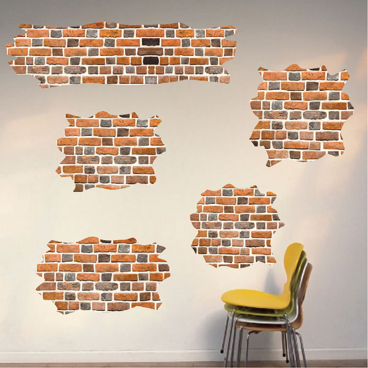 Delightful Brick Self Adhesive Wall Decals