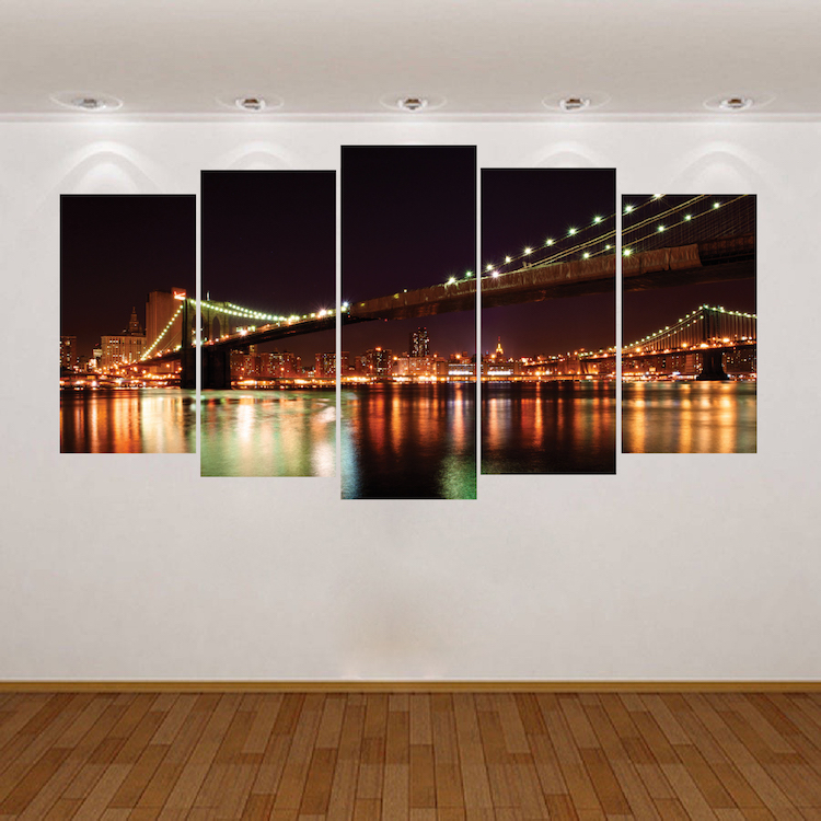 New york brooklyn bridge wall decal vinyl mural view for Brooklyn bridge mural wallpaper