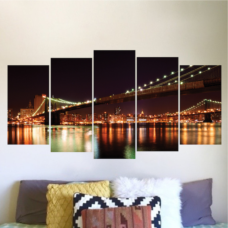 New york brooklyn bridge wall decal vinyl mural view for Brooklyn bridge wallpaper mural