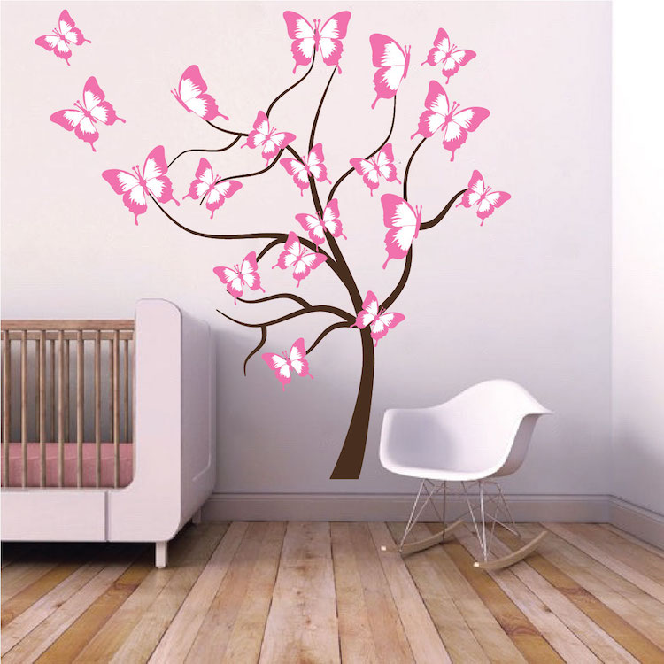Butterfly tree wall decal tree wall decal murals for Butterfly wall mural
