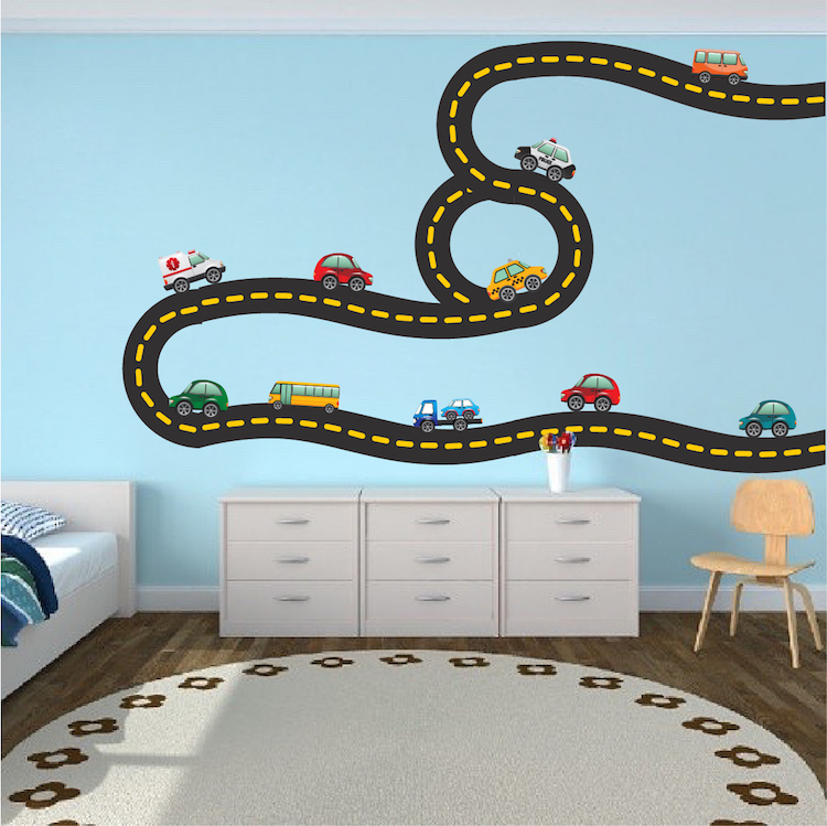 Race car decal sports wall decal murals race track for Cars wall mural sticker