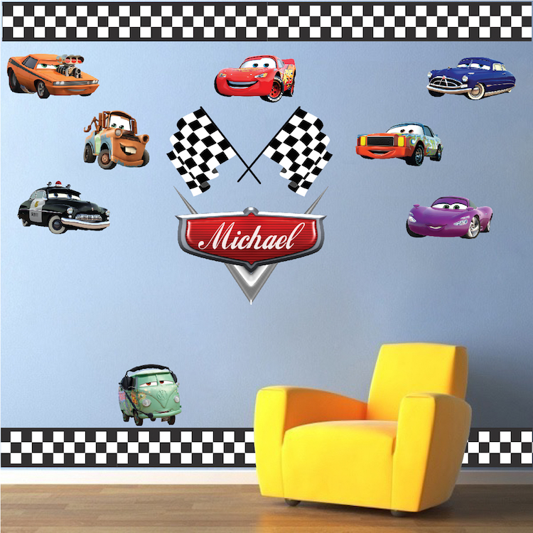 Personalized Boys Race Car Name Decal   Car Wall Decals   Automotive Decals    Kids Room Wall Murals   Race Track Wall Stickers | Primedecals
