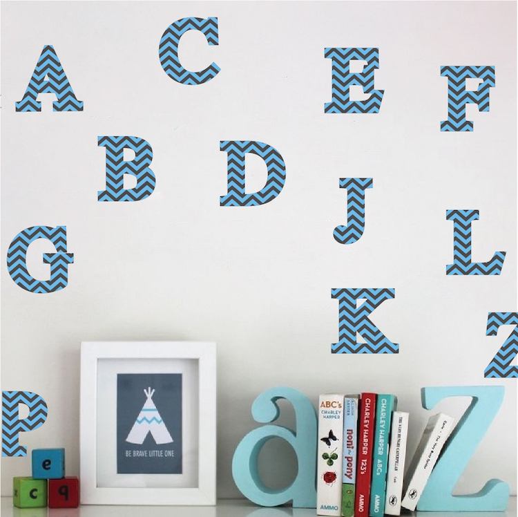 3d alphabet wall decals nursery wall decal murals for Wall letter designs