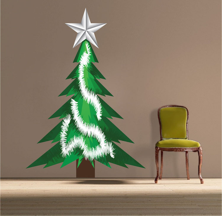 Christmas tree tinsel wall decal christmas murals for Christmas wall mural plastic