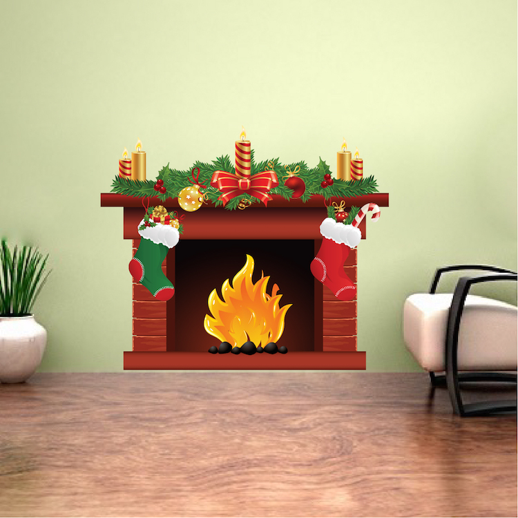 Delightful Christmas Fireplace Wall Decal Mural Part 14