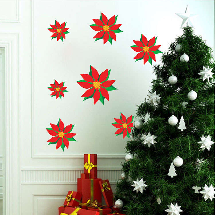Christmas flower wall decals christmas murals primedecals for Christmas wall mural