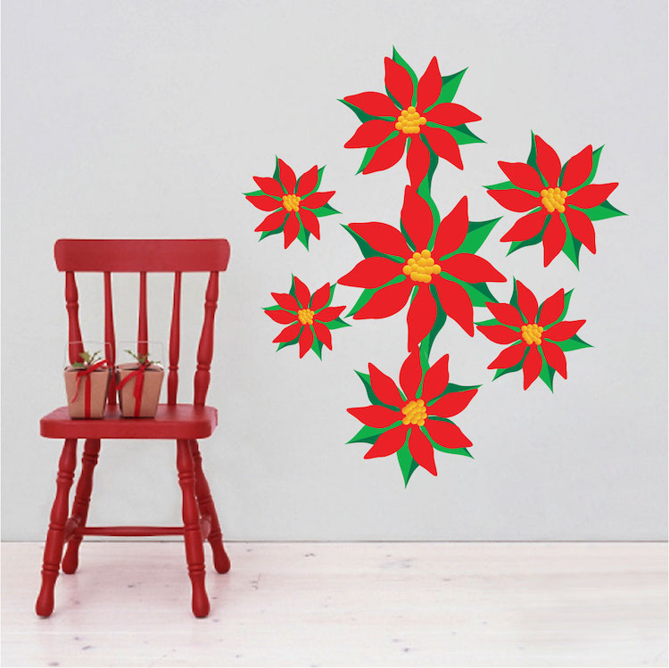 Christmas Flower Wall Decals Part 93