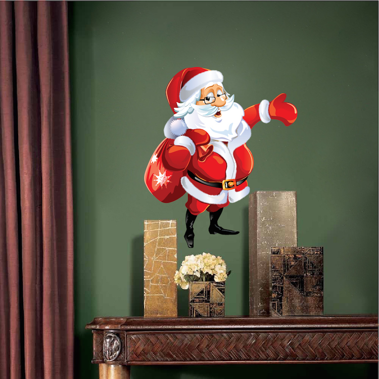 Santa claus removable christmas wall decal mural santa for Christmas wall mural