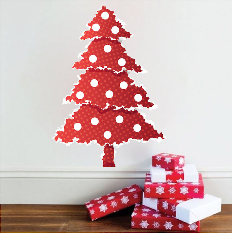Red Christmas Tree Wall Decal