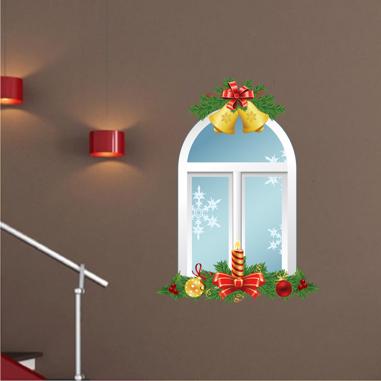 Christmas window wall decal interior wallpaper sticker for Christmas window mural