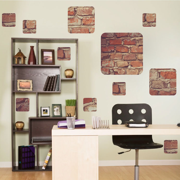 Brick squares decal art wall decal murals primedecals for Brick wall decal mural