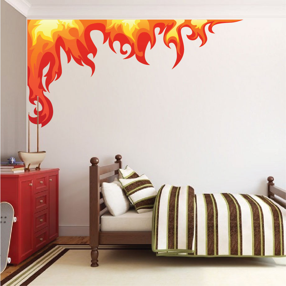 Bedroom flame wall mural decal boys room corner flame wall decal flame decals removable - Wall decor murals ...