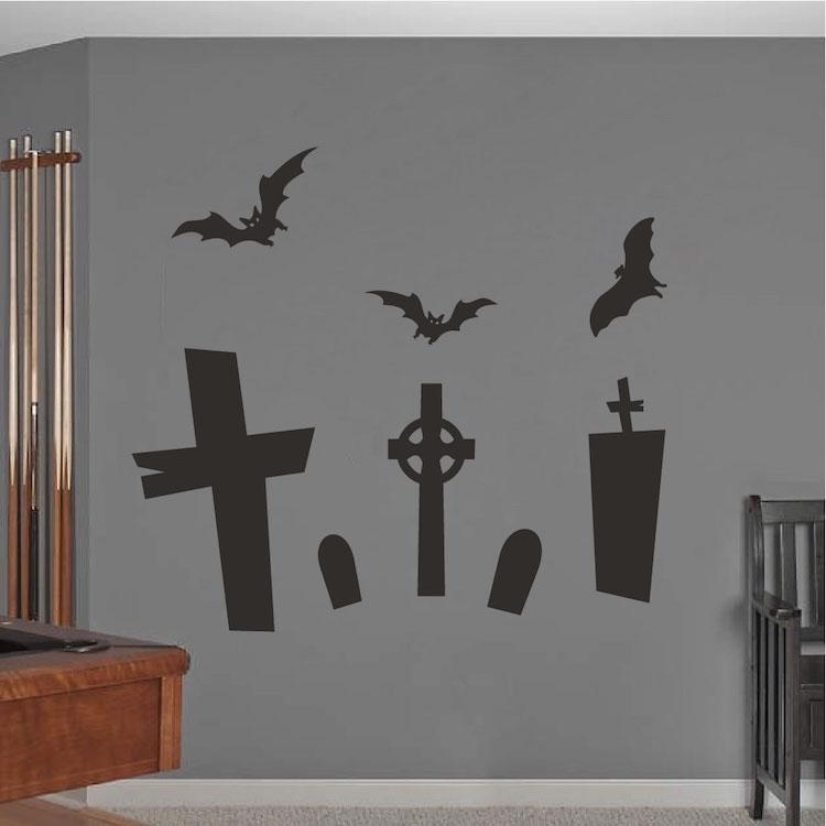halloween graveyard wall mural decal - Halloween Wall Mural