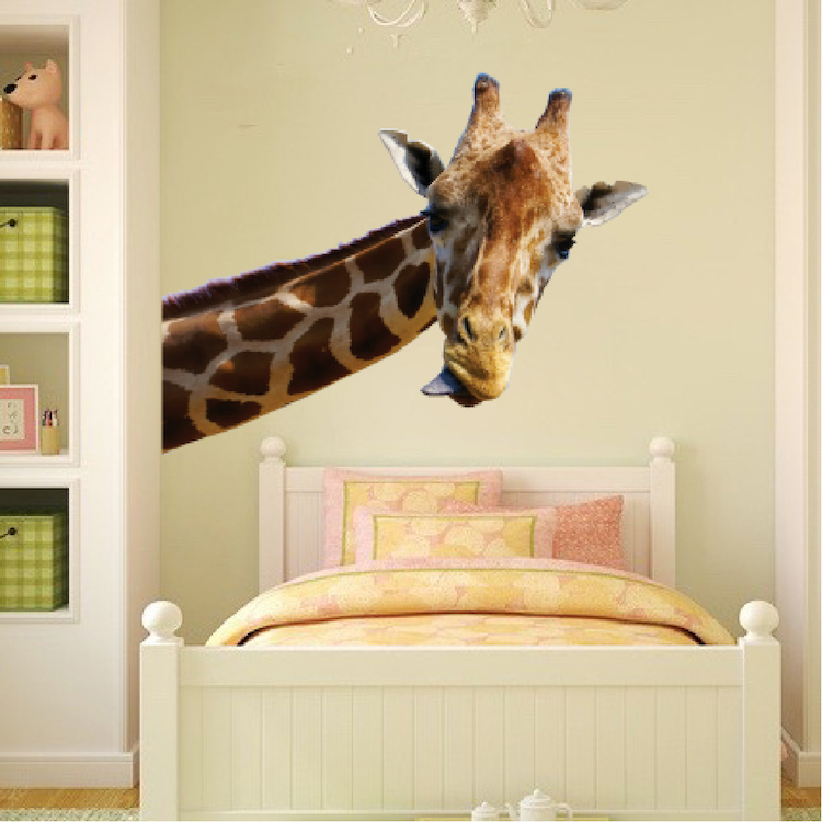 Lovely Leaning Giraffe Wall Mural Decal