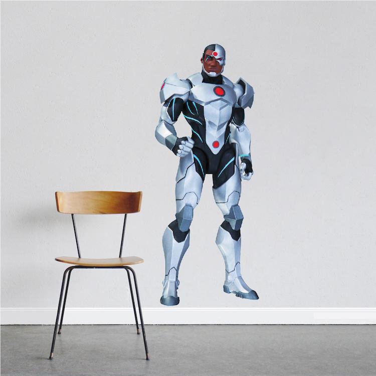 Cyborg Superhero Wall Decal Room Decor Superhero Wall