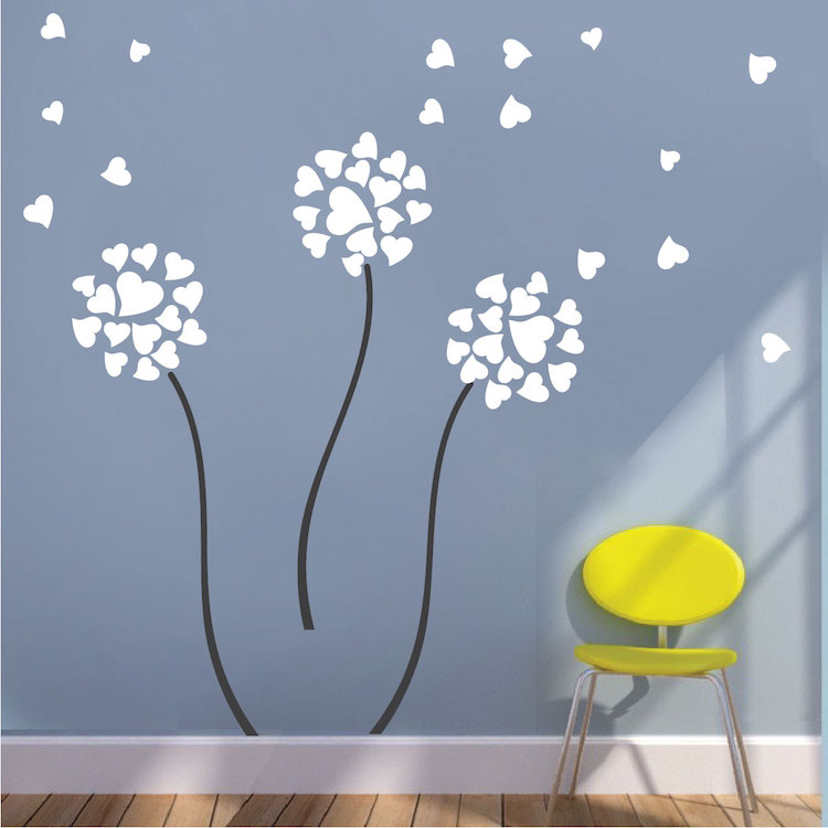 Dandelion wall decal flower wall decal murals primedecals for Dandelion wall mural