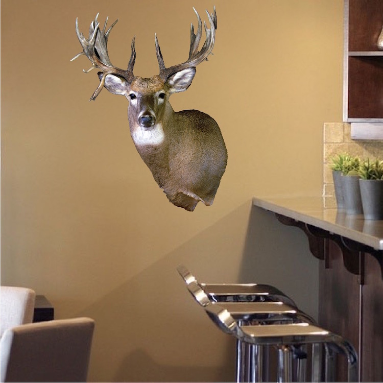 Deer head wall mural decal animal wall decal murals for Animal head wall decoration