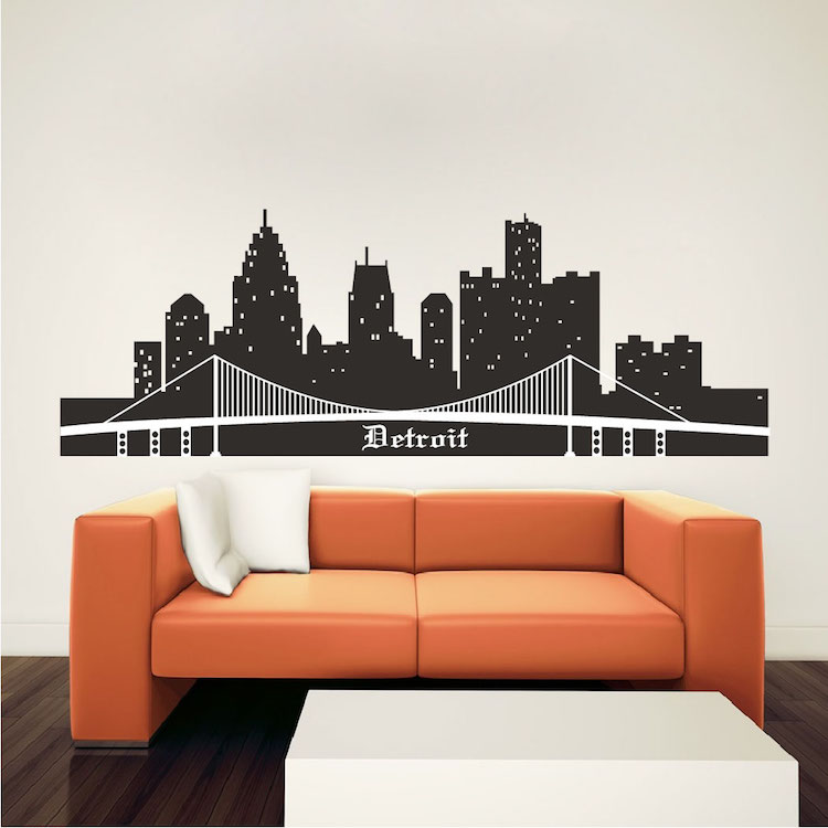 Detroit skyline wall mural decal cityscape wall decal for Cityscape mural