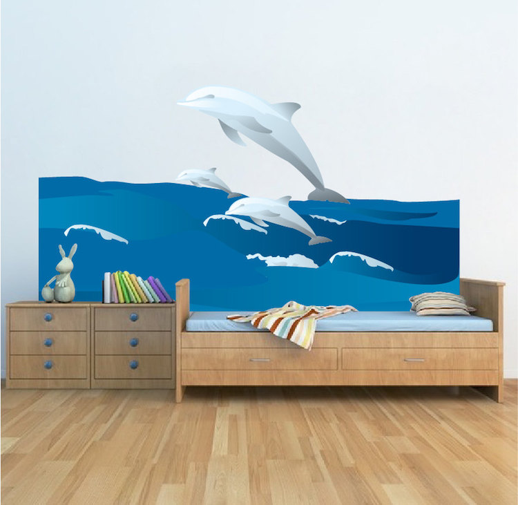 Dolphins and waves wall decal animal wall decal murals for Dolphin wall mural