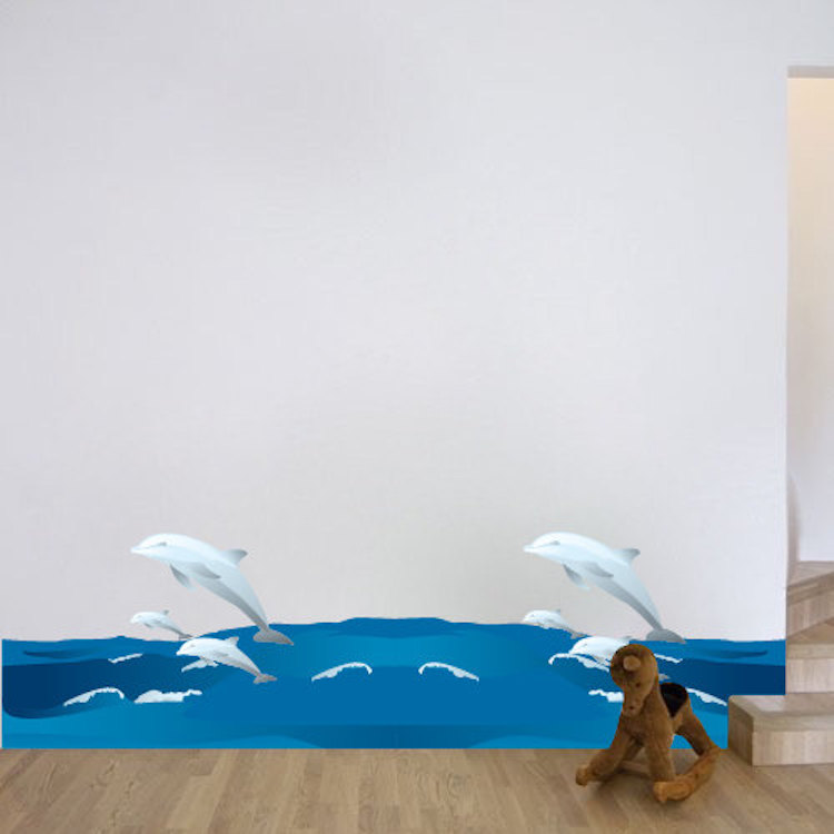 & Dolphins and Waves Wall Decal - Animal Wall Decal Murals - Primedecals