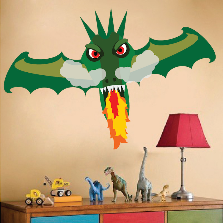 Fire breathing dragon wall decal boys wall decal murals for Dragon mural for wall