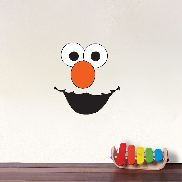 Elmo face kids wall decals elmo bedrom sticker mural for Elmo wall mural