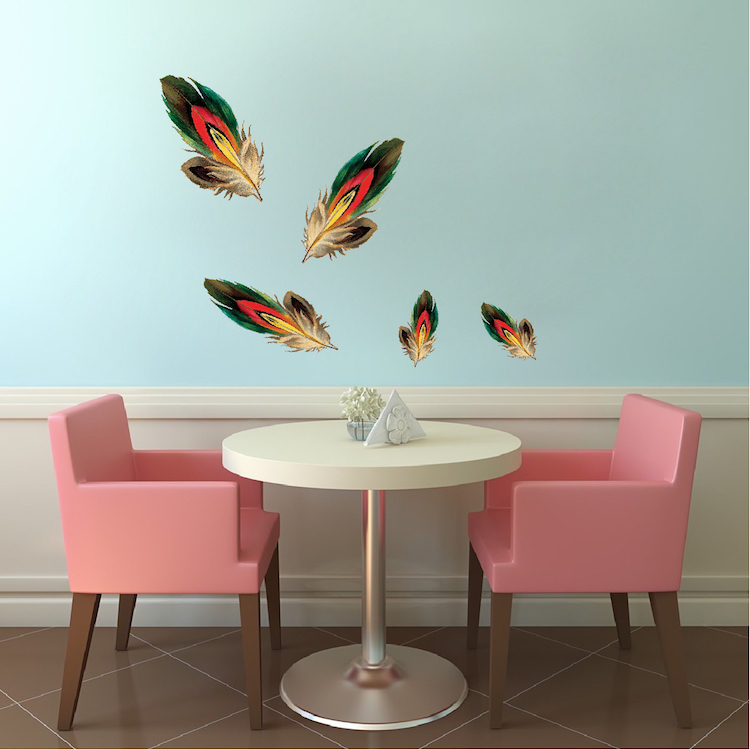 Beautiful Feather Wall Decals - American Indian Wallpaper Decal