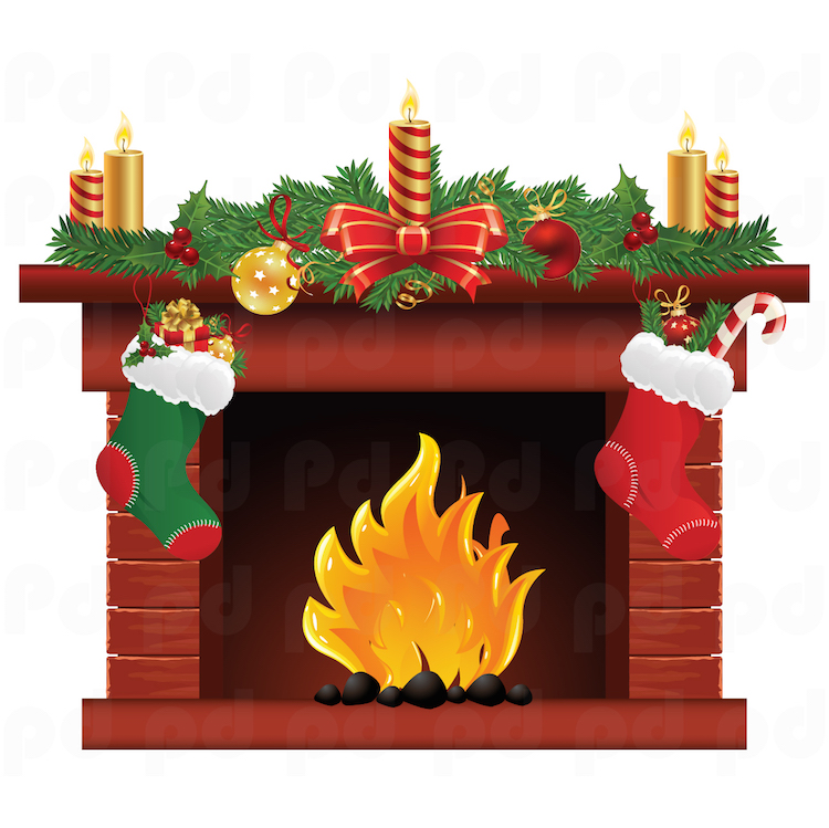 Christmas fireplace wall decal mural living room wall for Christmas wall mural plastic