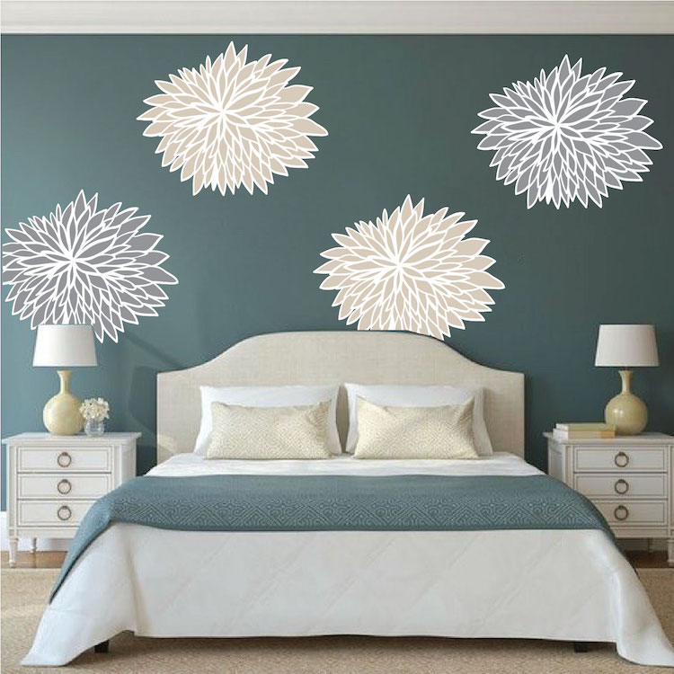 Delightful Bedroom Flower Wall Mural Decals