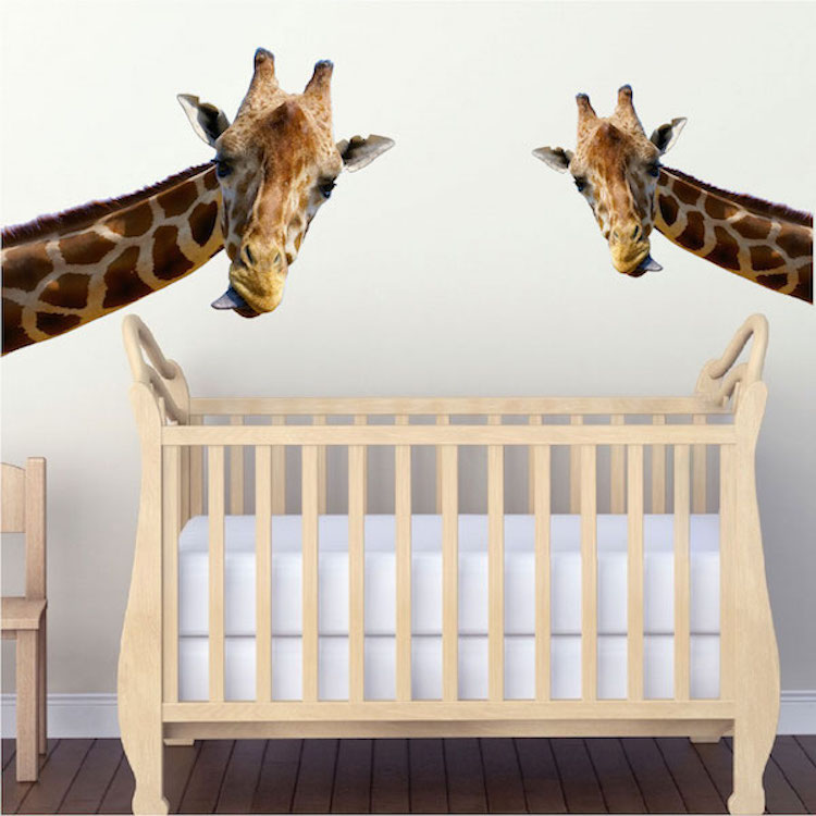 Leaning giraffe wall mural decal animal wall decal for Animal wall mural